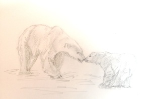 Polar Bears Endangered by Climate Change Drawing by Rebecca Pells